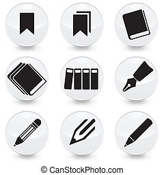 stylo, vecteur, livres, bookmarks, icônes