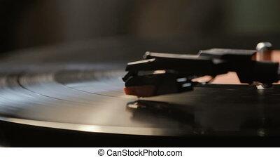 stylus, gros plan, jouer, tomber, player., aiguille, utilisation, enregistrement, vinyle, platine, antiquarian, joueur