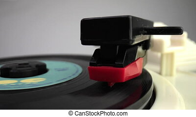 Stylus on record player - Close up footage vinyl record ...