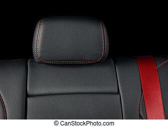 styng, läder, bil, nymodig, lopp, svart, lyxvara, röd