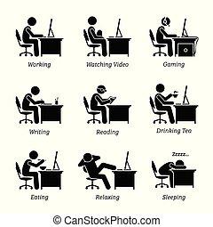 styrelse, arbete, framme av, a, dator, hos, kontor, workplace.