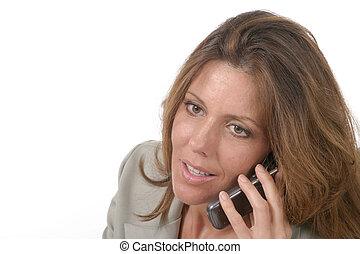 styrelse, mobiltelefon, kvinna, 5, affär