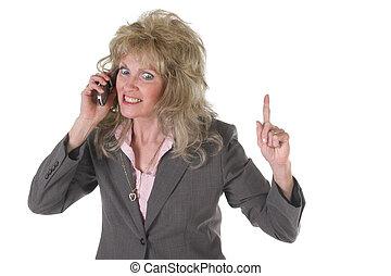 styrelse, mobiltelefon, kvinna, spänd, affär