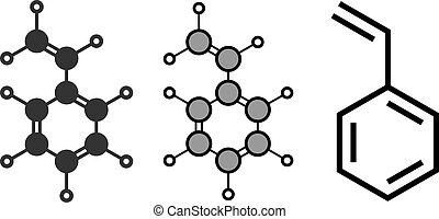 Styrene (ethenylbenzene, vinylbenzene, pheylethene) polystyrene building block molecule.