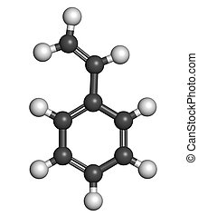 Styrene (vinyl benzene), polystyrene (PS) plastic building block. Atoms are represented as spheres with conventional color coding: hydrogen (white), carbon (grey).