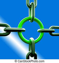 styrka, kedja, grön, länk, säkerhet, visar
