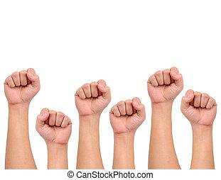 styrke, hånd, kompilering, tegn