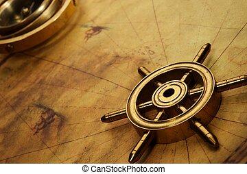 styrning hjul, på, den, gammal, karta