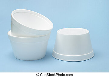 Styrofoam bowls - Three Styrofoam disposable bowls on ...