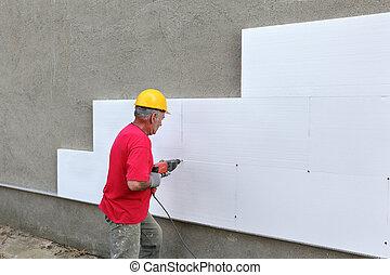 styrofoam, sitio, construcción, perforación, aislamiento, ...