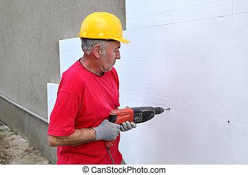 styrofoam, sitio, construcción, taladro, aislamiento, ancla