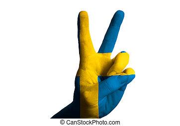 suède, drapeau national, deux, doigt, haut, geste, pour,...