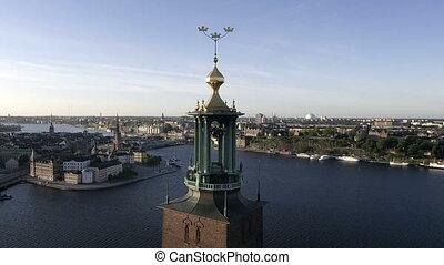 suède, stockholm, matin, vue, tôt