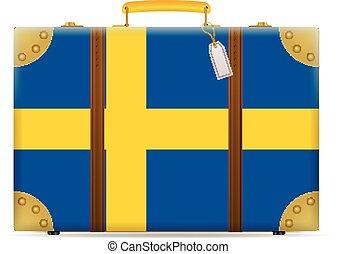 suécia, viagem, bandeira, mala