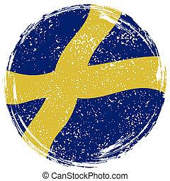 suédois, être, grunge, flag., effet, boîte, nettoyé