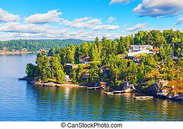 suédois, île, villages