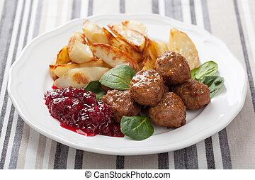 suédois, boulettes viande, à, pommes terre, et, lingon,...