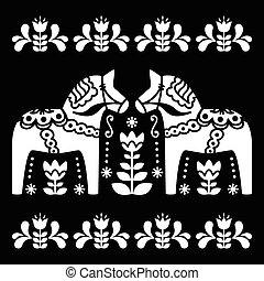 suédois, dala, ou, daleclarian, cheval