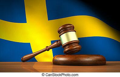 suédois, droit & loi, et, justice, concept