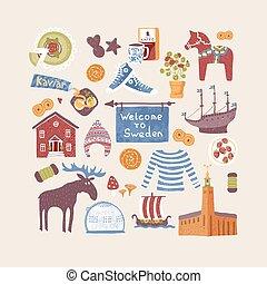 suédois, ensemble, main, symboles, éléments, conception, dessiné