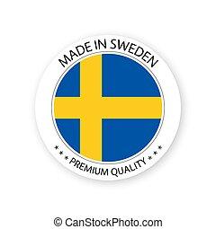 suédois, fait, prime, simple, conception, autocollant, moderne, isolé, vecteur, étiquette, timbre, drapeau, fond, couleurs, blanc, qualité, suède