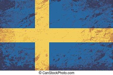 suédois, flag., grunge, arrière-plan.