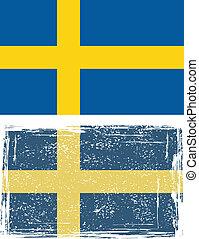 suédois, flag., vecteur, grunge