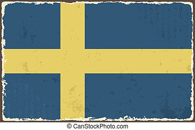 suédois, flag., vecteur, grunge, illustration