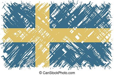 suédois, flag., vecteur, grunge, illustration.