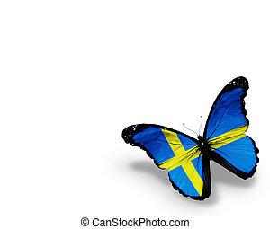 suédois, isolé, drapeau, fond, blanc, papillon