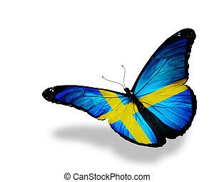 suédois, papillon, voler, isolé, drapeau, fond, blanc