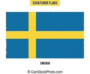 suédois, plat, peu, grunge, texture., moderne, drapeau, main, gratté, suède, vecteur, facile, grattements, dessiné, surface., design.