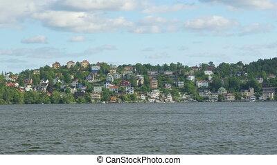 """suédois, """"small, stockholm, village, sweden"""", bateau, planche, vue"""