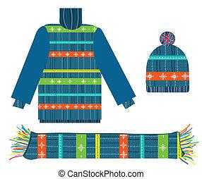 suéter, cobrança, tricotado, chapéu, natal, echarpe