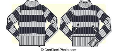 suéter, dama, zip-up