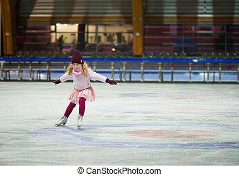 suéter, gorra, tibio, guantes, bastante, patines, niña, rojo