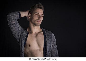 suéter, joven, chest., desnudo, hombre, abierto, guapo