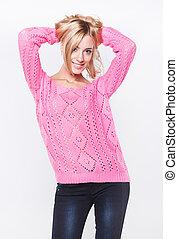 suéter, loura, bonito, cor-de-rosa