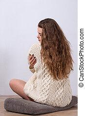 suéter, mulher