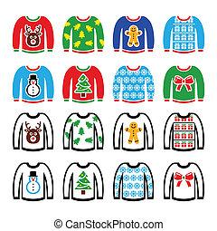 suéter, natal, feio, jumper