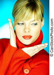 suéter, rojo