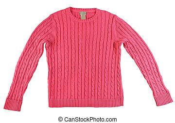 suéter rosa, aislado, tejido, plano de fondo, blanco