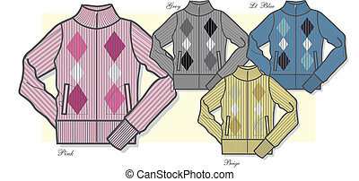 suéter, senhora, zip-up