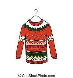 suéter, vector, navidad, rojo