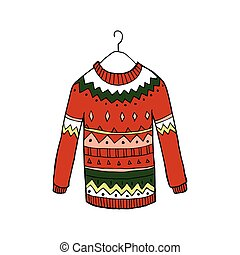 suéter, vetorial, natal, vermelho