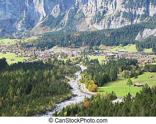 suíça, alpino, vista, majestoso, kandersteg, região
