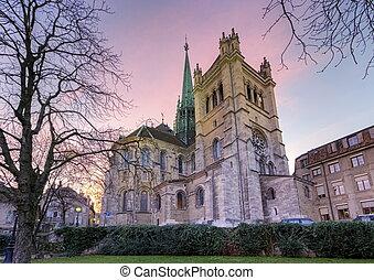 suíça, catedral, genebra, saint-pierre