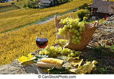 suíça, grapes., vinho, lavaux, região