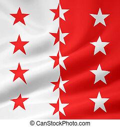 suíça, valais, bandeira, -