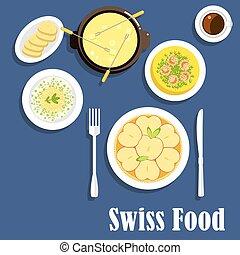 suíço, cozinha, pratos, queijo, fondue